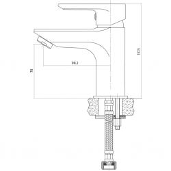 CERSANIT - Umývadlová batéria VERO jednopáková, jednootvorová, stojančeková, s pevným výtokovým ramienkom, CHROM, s výpusťou kovovou (S951-042), fotografie 4/3