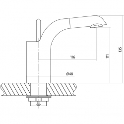 CERSANIT - Umývadlová batéria LUVIO jednopáková, jednootvorová, stojančeková, s pevným výtokovým ramienkom, CHROM, s výpusťou kovovou click-clack (S951-051), fotografie 4/4