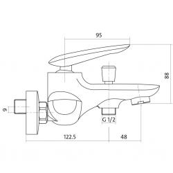 CERSANIT - Vaňová batéria so sprchou MAYO jednopáková, nástenná, s pevným výtokovým ramienkom, s prepínačom, chróm (S951-013), fotografie 4/3