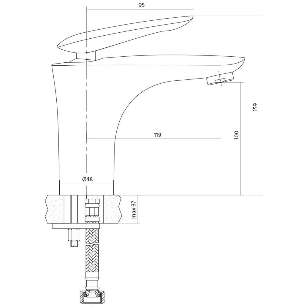 CERSANIT - Umývadlová batéria MAYO jednopáková, jednootvorová, stojančeková, s pevným výtokovým ramienkom, CHROM, s výpusťou kovovou click-clack S951-052