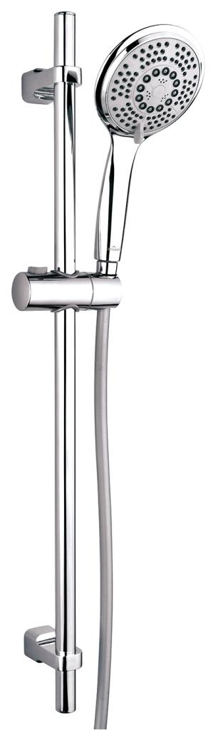 CERSANIT - Sprchová súprava s tyčou a posuvným držiakom Sent, 5 funkčný, priemer ručnej sprchy 12cm, hadice z PVC dlhá 200cm, kovová tyč 80cm s posuvným držiakom a montážnou sadou (S951-020)