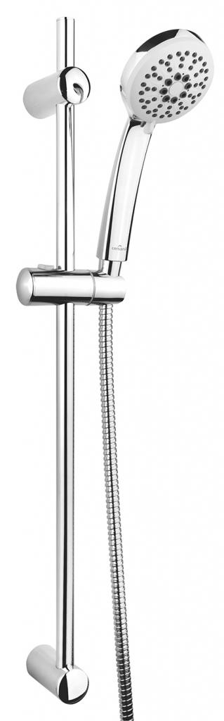 CERSANIT - Sprchová súprava s tyčou a posuvným držiakom VIBE, 3 funkčné, priemer ručnej sprchy 8,5cm, kovová hadica dlhá 150cm, kovová tyč 70cm s posuvným držiakom a montážnou sadou (S951-021)