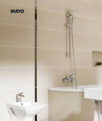 CERSANIT - Vaňová batéria so sprchou MAYO jednopáková, nástenná, s pevným výtokovým ramienkom, s prepínačom, chróm (S951-013), fotografie 6/3