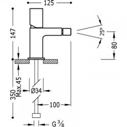 TRES - LOFT COLORS Bidetová jednopáková batéria (20012002AMD), fotografie 2/3