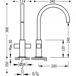 TOP-TRES dvojpákový drezová kuchynská batéria CUADRO-TRES ramienko 22x22 (108497), fotografie 2/3