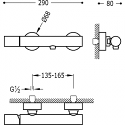 MAX-TRES Sprchová batéria, ručná sprcha, nastaviteľný držiak, hadice (06116701), fotografie 2/4