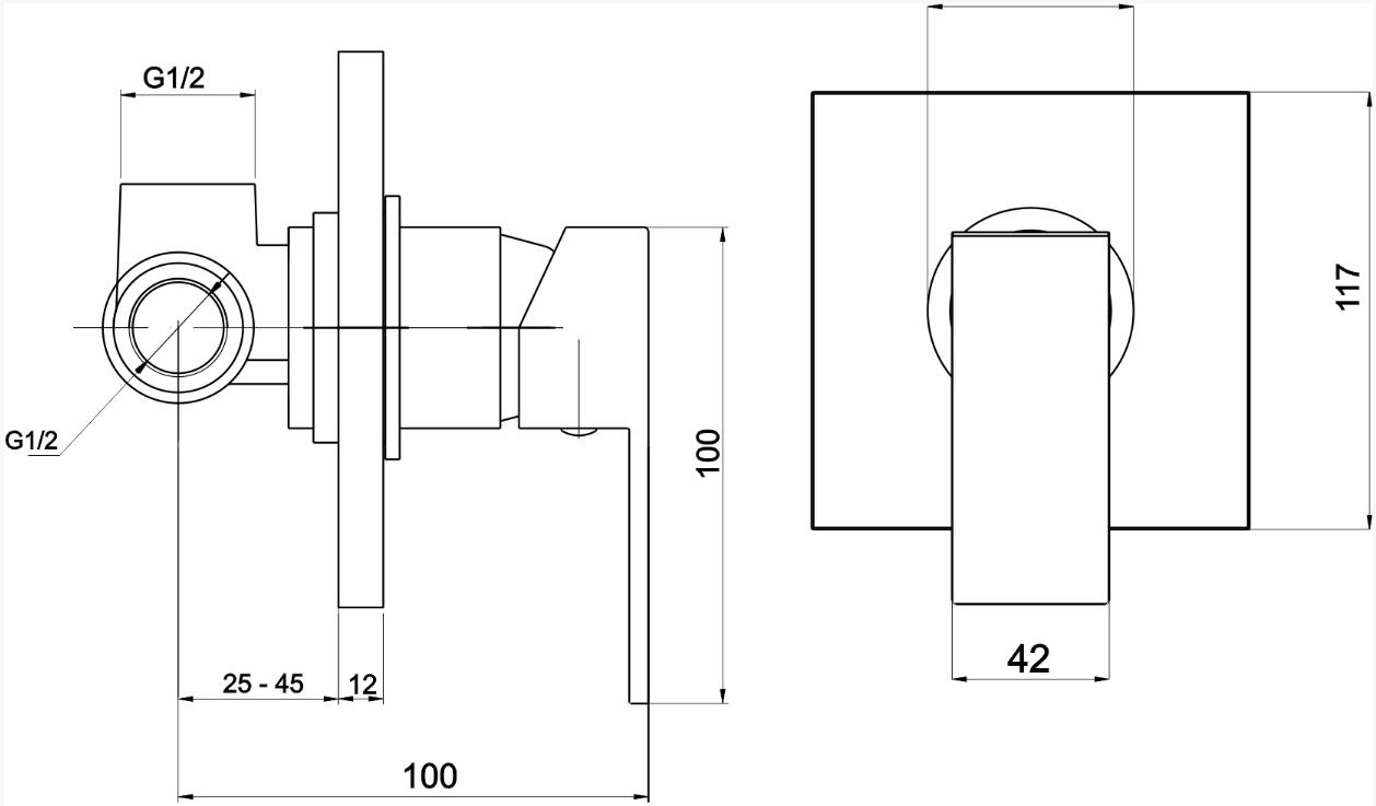 VÝPRODEJ - Sprchová baterie podomítková EDGE chrom (36050,0VYP), fotografie 1/1