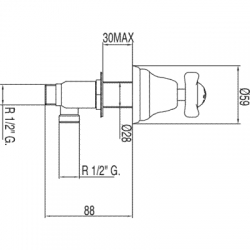 RETRO-TRES Bočné umývadlová batéria (124125F), fotografie 2/2