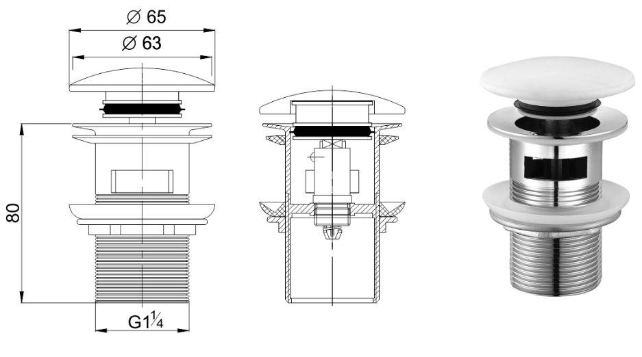 CERSANIT - VÝPUST CLICK-CLACK S KERAMICKÚ zátka pre umývadlá s prepadom K99-0184-EX1
