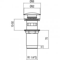 TRES - Umývadlový ventil s prepadom zátka O 66 mm CLICK-CLACK (13454160), fotografie 2/2