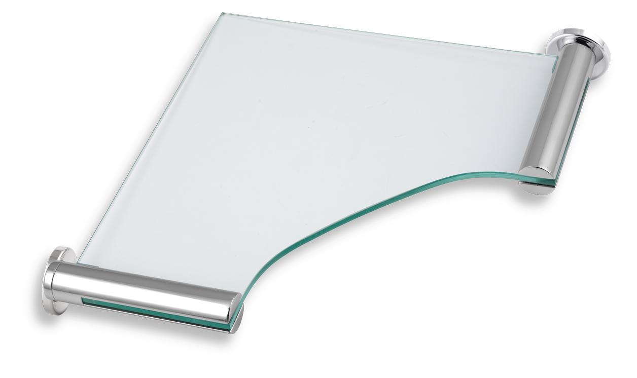 NOVASERVIS - Rohová polička sklo pieskované  Metalia 2 chróm (6235,0S)