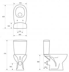 CERSANIT - WC kombi 415 ARTECO 011 3/6 WC sedátko polypropylénu (K667-019), fotografie 2/3