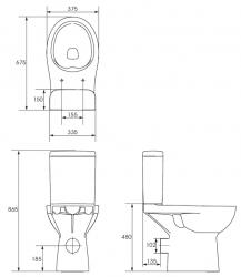 CERSANIT - WC KOMPAKTNÉ ETIUDA NEW CLEANON 010 3 / 6L Invalidný (K11-0221), fotografie 8/4
