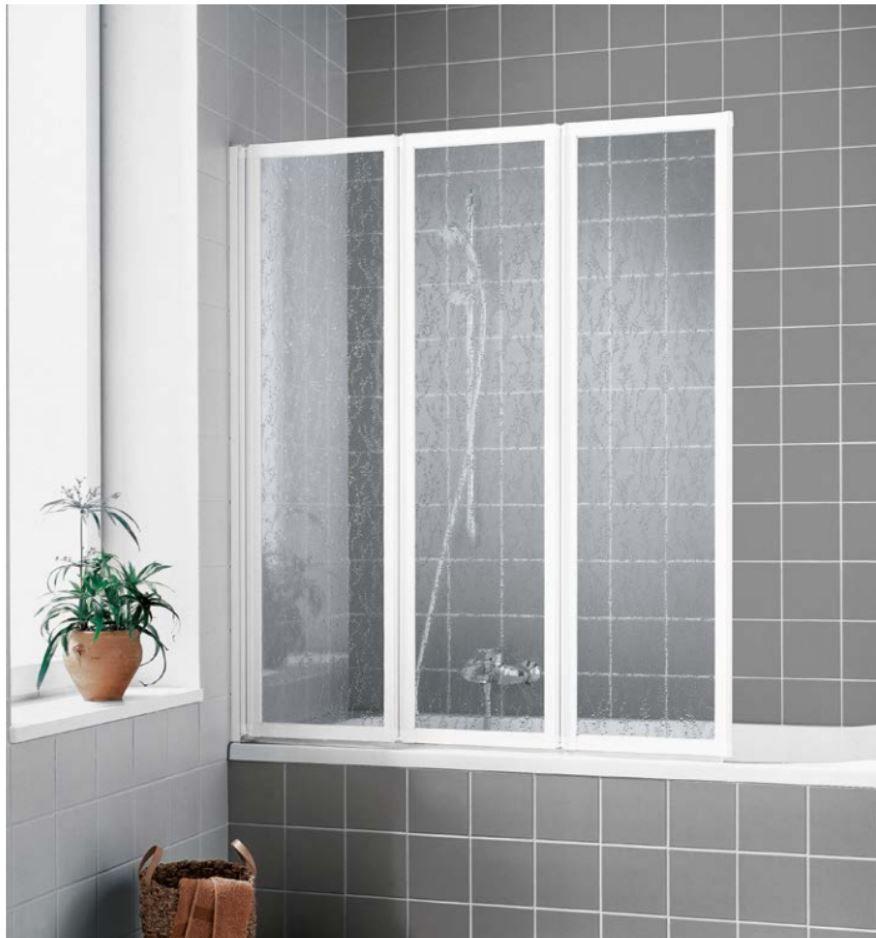 VÝPRODEJ - Kermi sklád. stěna Cada FW3 12014 1179-1189/1400 stříbrná ESG čiré Clean, tříkřídlá skládaná CAFW312014VPK