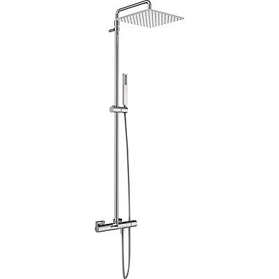 TRES - Súprava termostatické batérie pre vaňu-sprchu · Pevná sprcha 300x300 mm. s kĺbom. (1.34.138.30). · Ručná sprcha, proti usa. vôd. kameňa (202.639.01). · Flexi hadice. · Teleskopická tyč. (21131201)