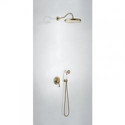 TRES - Sprchová sada vstavaná s uzáverom a reguláciou prietoku. · Vrátane podomietkového telesa · Pevná sprcha O 310 mm. s kĺbom. · Držiak s nástenným prívodom vody. · Sprcha, proti usa. vôd. kameňa O 78 mm. · Flexi hadica s dvojitým opletom. (24218003LV)