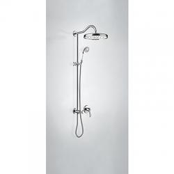 TRES - Sprchová sada vstavaná s uzáverom a reguláciou prietoku. · Vrátane podomietkového telesa · Pevná sprcha O 310 mm. s kĺbom. (299.337.03). · Sprcha, proti usa. vôd. kameňa O 78 mm. (299.631.09). · Flexi hadica s dvojitým opletom. (24217703)