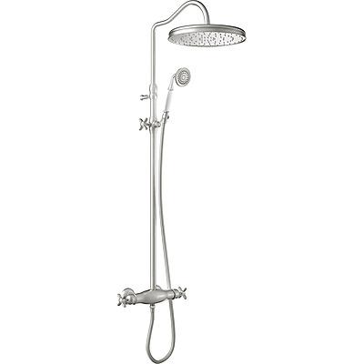 TRES - Súprava termostatické sprchové batérie · Pevná sprcha O 310 mm. s kĺbom. · Sprcha, proti usa. vôd. kameňa O 78 mm. · Flexi hadica s dvojitým opletom. · Teleskopická tyč. (24219502AC)