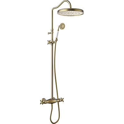 TRES - Súprava termostatické sprchové batérie · Pevná sprcha O 310 mm. s kĺbom. · Sprcha, proti usa. vôd. kameňa O 78 mm. · Flexi hadica s dvojitým opletom. · Teleskopická tyč. (24219502LV)