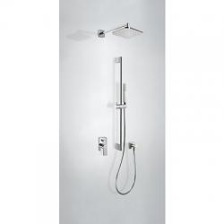 TRES - Podomietková sprchová jednopáková set LOFT s uzáverom a reguláciou prietoku. · Vrátane podomietkového telesa · Pevná sprcha 220x220 mm. s kĺbom. (299.632.06). · Kolienko nást. Přívodemem (200.183.01). · Posuvná tyč 820 mm (034.637.01). · Ručná sprc