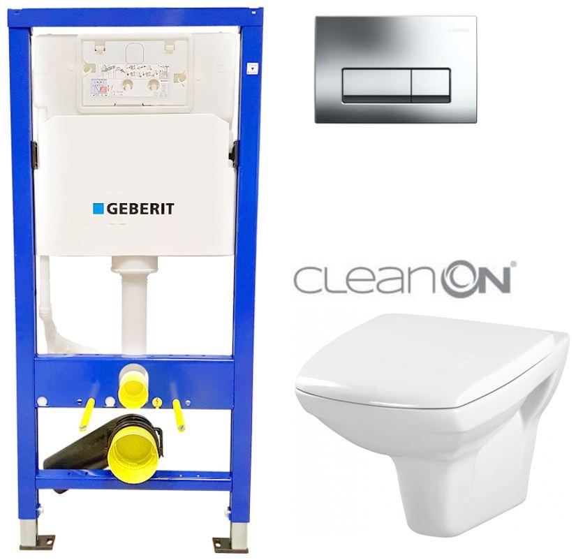 /SET/GEBERIT - Duofix Sada pre závesné WC 458.103.00.1 + klozet a sedadlo CERSANIT CARINA CLEAN + Tlačidlo (458.103.00.1 CA1)