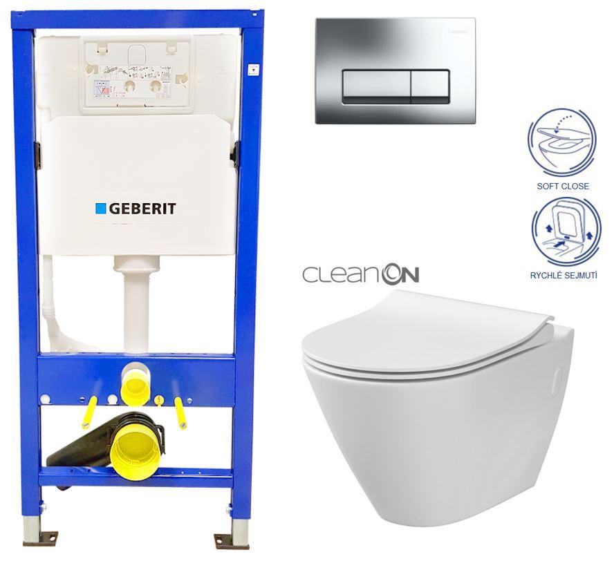 /SET/GEBERIT - Duofix Sada pre závesné WC 458.103.00.1 + tlačidlo + WC CITY CLEAN ON + Sedadlo (458.103.00.1 CI1)