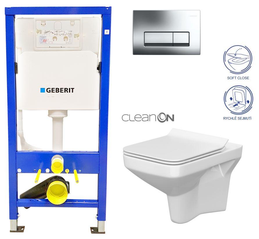 /SET/GEBERIT - Duofix Sada pre závesné WC 458.103.00.1 + tlačidlo + WC CERSANIT COMO CLEAN ON + Sedadlo (458.103.00.1 CO1)