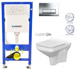 AKCE/SET/GEBERIT - Duofix Sada pre závesné WC 458.103.00.1 + tlačidlo + WC CERSANIT COMO CLEAN ON + Sedadlo (458.103.00.1 CO1)