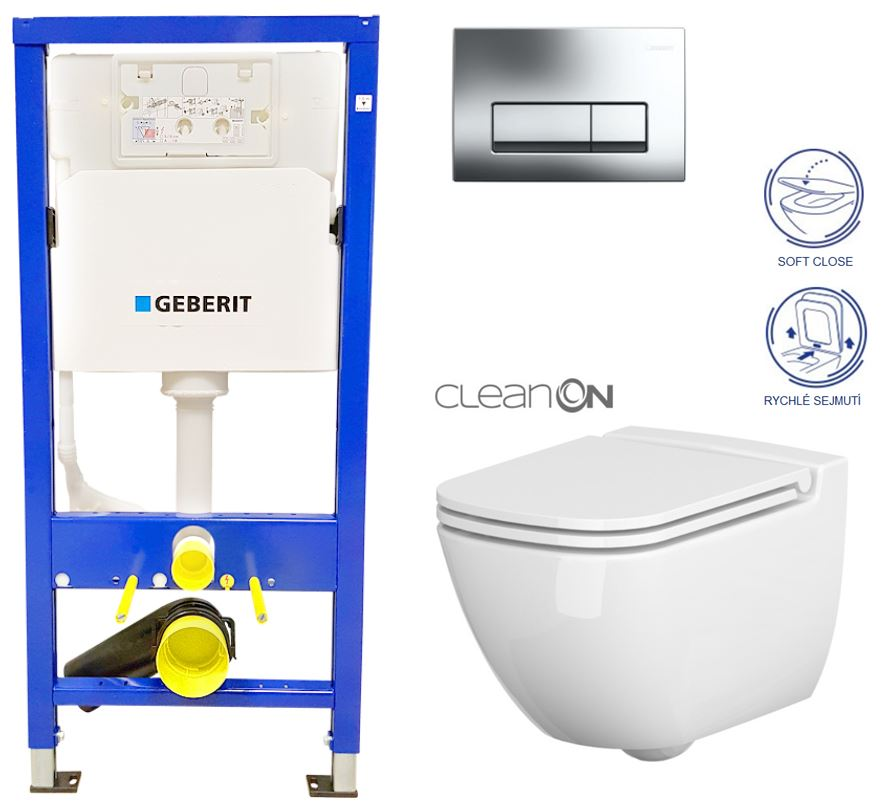 AKCE/SET/GEBERIT - GEBERIT - Duofix Sada pre závesné WC 458.103.00.1 + tlačidlo + WC CERSANIT CASPIA CLEAN ON + Sedadlo (458.103.00.1 CP1)