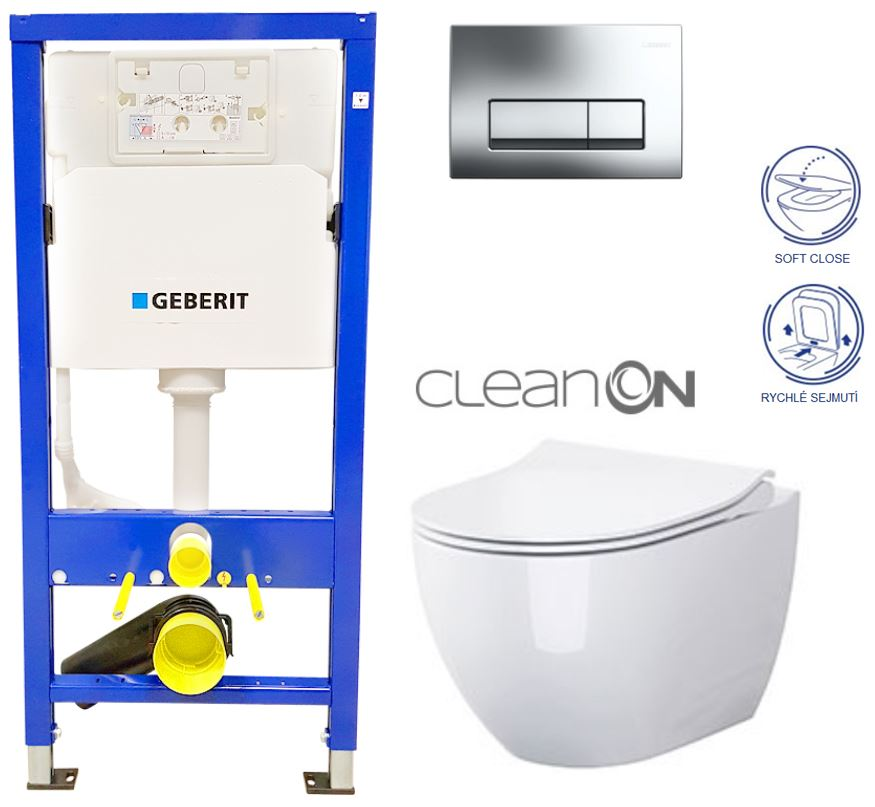 /SET/GEBERIT - Duofix Sada pre závesné WC 458.103.00.1 + tlačidlo + WC CERSANIT URBAN HARMONY CLEAN ON + SEDADLO (458.103.00.1 HA1)