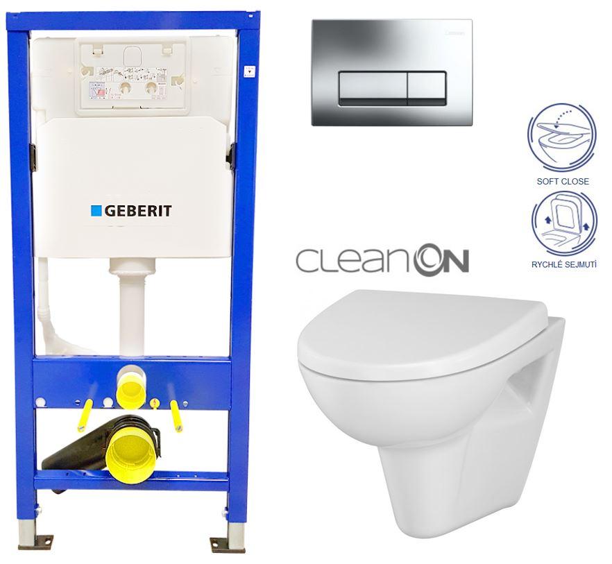 /SET/GEBERIT - Duofix Sada pre závesné WC 458.103.00.1 + tlačidlo + WC CERSANIT Parva NEW CLEAN ON + Sedadlo (458.103.00.1 PA1)