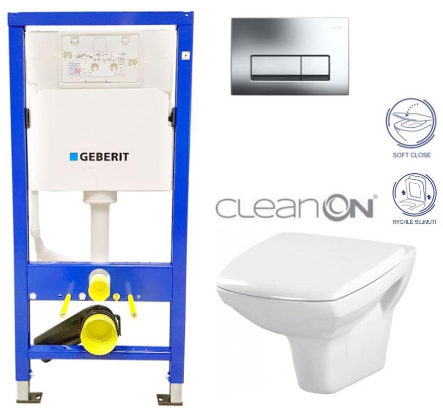 /SET/GEBERIT - Duofix Sada pre závesné WC 458.103.00.1 + klozet a sedadlo CERSANIT CARINA CLEAN + Tlačidlo (458.103.00.1 CA2)