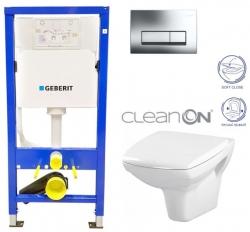 GEBERIT DuofixBasic s chrómovým tlačidlom DELTA51 + WC CERSANIT CLEANON CARINA + SEDADLO (458.103.00.1 CA2)