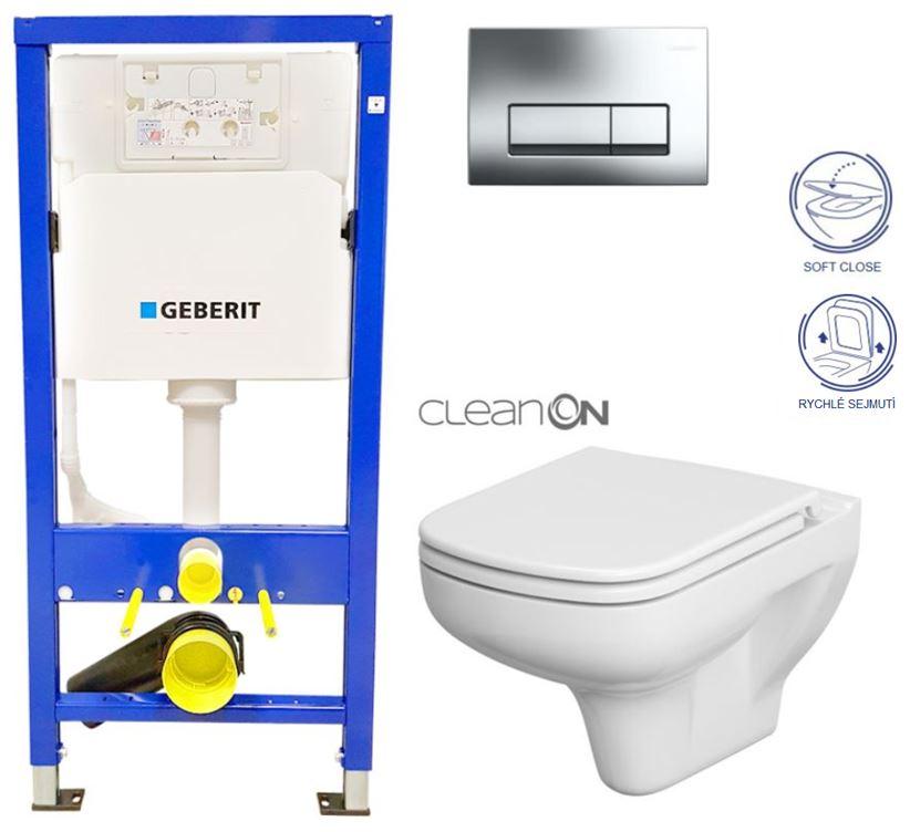/SET/GEBERIT - Duofix Sada pre závesné WC 458.103.00.1 + tlačidlo + WC CERSANIT COLOUR NEW CLEAN ON + Sedadlo (458.103.00.1 CN1)