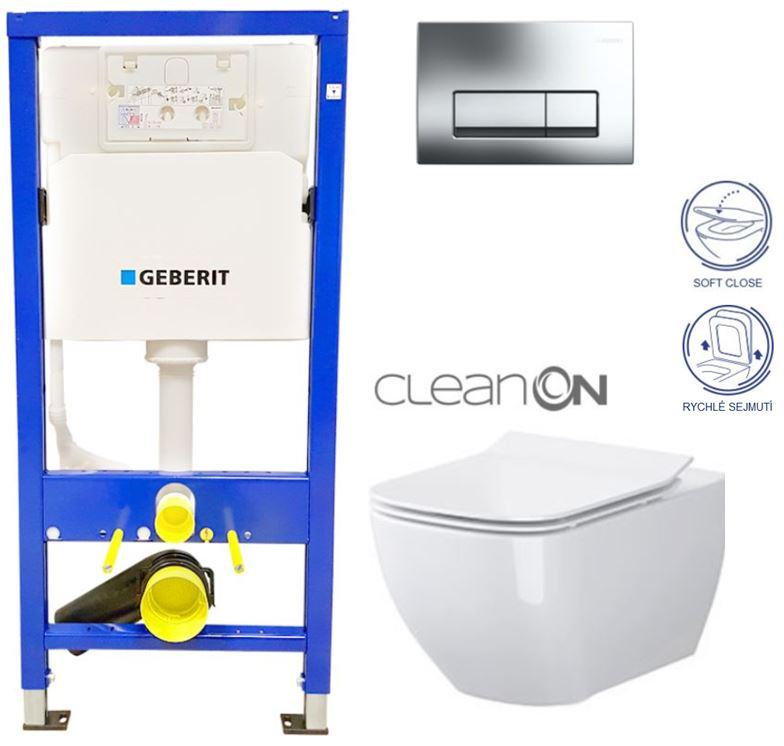 /SET/GEBERIT - Duofix Sada pre závesné WC 458.103.00.1 + tlačidlo + WC CERSANIT METROPOLITAN CLEAN ON + Sedadlo (458.103.00.1 ME1)