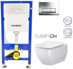 AKCE/SET/GEBERIT - Duofix Sada pre závesné WC 458.103.00.1 + tlačidlo + WC CERSANIT METROPOLITAN CLEAN ON + Sedadlo (458.103.00.1 ME1)