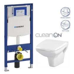 AKCE/SET/GEBERIT - SET Duofix pre závesné WC 111.300.00.5 + klozet a sedadlo CERSANIT CARINA CLEAN ON / K31-046 + K98-0069 / (111.300.00.5 CA2)