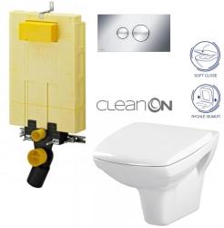 AKCE/SET/VIEGA - SET MONO modul WC čelné ovládanie + ovládacie tlačidlo CHRÓM + WC CERSANIT CARINA CLEAN ON + SEDADLO (V606732CR CA2)