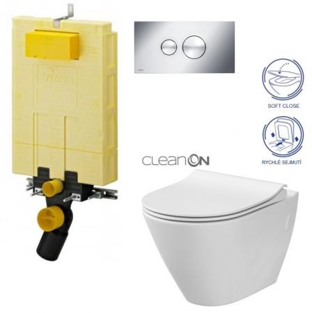 AKCE/SET/VIEGA - MONO modul WC čelné ovládanie + ovládacie tlačidlo CHRÓM + WC CERSANIT CITY CLEAN ON + SEDADLO (V606732CR CI1)