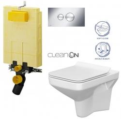 AKCE/SET/VIEGA - MONO modul WC čelné ovládanie + ovládacie tlačidlo CHRÓM + WC CERSANIT COMO CLEAN ON + SEDADLO (V606732CR CO1)