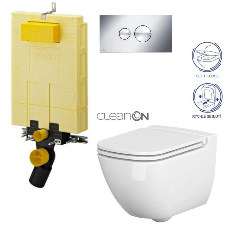 /SET/VIEGA - MONO modul WC čelné ovládanie + ovládacie tlačidlo CHRÓM + WC CERSANIT CASPIA CLEAN ON + SEDADLO (V606732CR CP1)