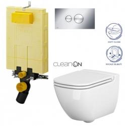AKCE/SET/VIEGA - SET MONO modul WC čelné ovládanie + ovládacie tlačidlo CHRÓM + WC CERSANIT CASPIA CLEAN ON + SEDADLO (V606732CR CP1)