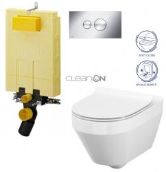 AKCE/SET/VIEGA - SET MONO modul WC čelné ovládanie + ovládacie tlačidlo CHRÓM + WC CERSANIT CREA OVÁL CLEAN ON + SEDADLO (V606732CR CR1)