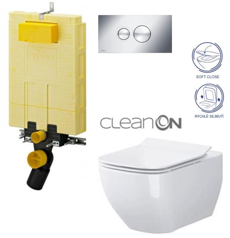 /SET/VIEGA - MONO modul WC čelné ovládanie + ovládacie tlačidlo CHRÓM + WC CERSANIT METROPOLITAN CLEAN ON + SEDADLO (V606732CR ME1)