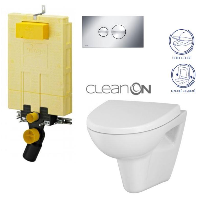 /SET/VIEGA - MONO modul WC čelné ovládanie + ovládacie tlačidlo CHRÓM + WC CERSANIT Parva CLEAN ON + SEDADLO (V606732CR PA1)