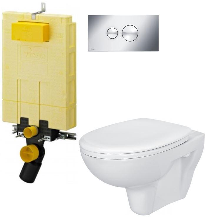 /SET/VIEGA - MONO modul WC čelné ovládanie + ovládacie tlačidlo CHRÓM + WC CERSANIT PRESIDENT + SEDADLO (V606732CR PR1)
