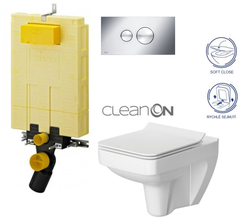 /SET/VIEGA - MONO modul WC čelné ovládanie + ovládacie tlačidlo CHRÓM + WC CERSANIT SPLENDOUR CLEAN ON + SEDADLO (V606732CR SP1)