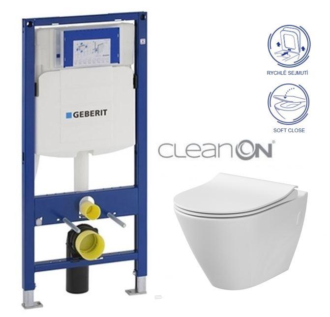 /SET/GEBERIT - Duofix pre závesné WC 111.300.00.5 CR + klozet a sedadlo CERSANIT CITY CLEAN ON / K35-025 + K98-0146 / (111.300.00.5 CI1)