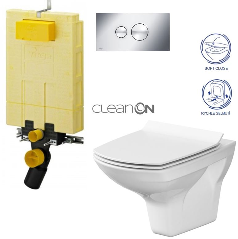 /SET/VIEGA - MONO modul WC čelné ovládanie + ovládacie tlačidlo CHRÓM + WC CERSANIT CARINA CLEAN ON + SEDADLO (V606732CR Ca3)