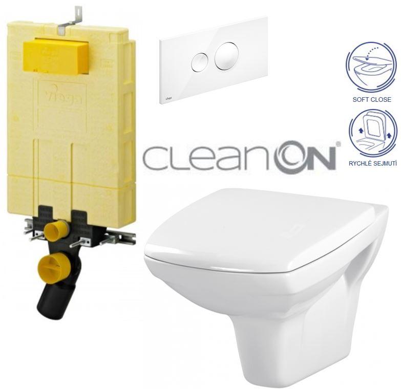 AKCE/SET/VIEGA - VIEGA - MONO modul WC čelné ovládanie + ovládacie tlačidlo BIELE + WC CERSANIT CARINA CLEAN ON + SEDADLO (V606732BI CA2)
